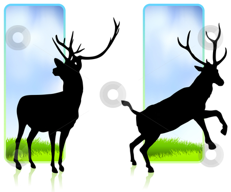 Deer with Nature Banners stock vector clipart, Deer with Nature Banners Original Vector Illustration by L Belomlinsky
