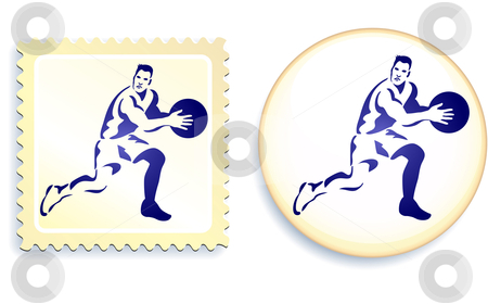 Basketball Stamp and Button stock vector clipart, Basketball Stamp and Button Original Vector Illustration by L Belomlinsky