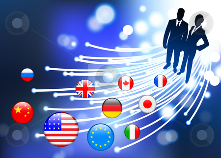 Business Couple on  internet flag buttons background stock vector clipart, Business Couple on  internet flag buttons background Original Vector Illustration by L Belomlinsky