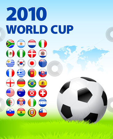 2010 World Cup Team Flag Internet Buttons with World Map stock vector clipart, 2010 World Cup Team Flag Internet Buttons with World Map Original Vector Illustration by L Belomlinsky