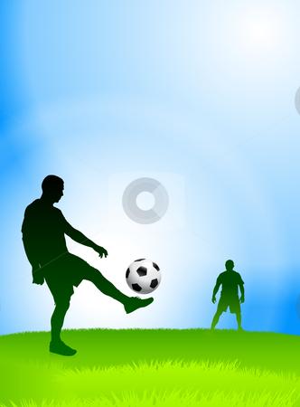 Print stock vector clipart, Soccer Player on Daytime Background Original Vector Illustration by L Belomlinsky