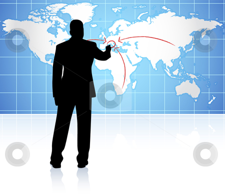 Businessman with world internet background stock vector clipart,  by L Belomlinsky