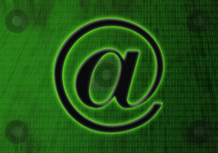 E-mail symbol (at sign) stock photo, Glowing e-mail symbol (at sign) over a green background by Mihai Zaharia