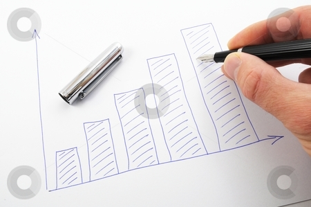Hand and business chart stock photo, Hand pen and paper with business chart illustration by Gunnar Pippel