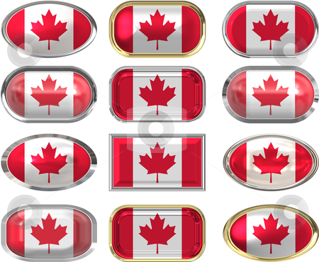 Twelve buttons of the Flag of Canada stock vector clipart, Twelve buttons of the the Flag of canada by Phil Morley
