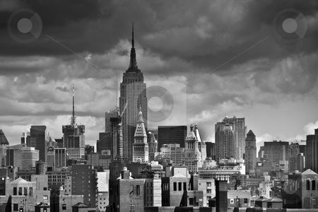 View of New York City from the Brooklyn Bridge stock photo, Black and White View of New York City from the Brooklyn Bridge by Giovanni Gagliardi