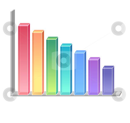 Business chart stock photo, A color graphics chart over a white background by Su Li