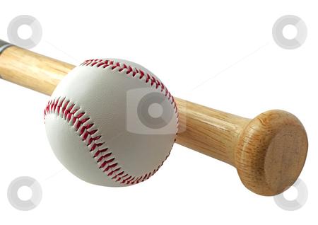 Baseball stock photo, A baseball near a bat on white background by Fabio Alcini