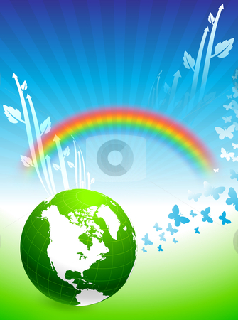 Globe on Rainbow Environmental Conservation Background stock vector clipart,  by L Belomlinsky