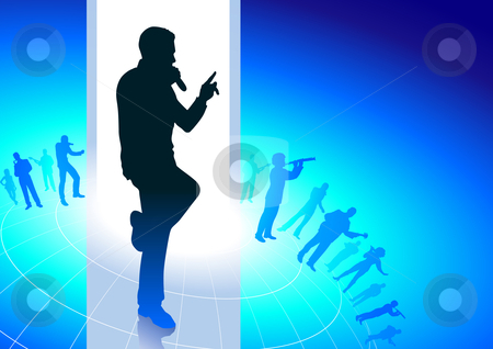 Cutcaster Photo Karaoke Singer On Musical Blue Background Group Vector Images Over