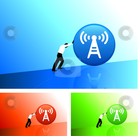 Businessman pushing icon uphill stock vector clipart, Original Vector Illustration: AI8 compatible by L Belomlinsky