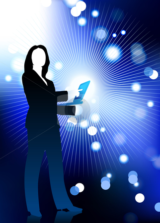 Businesswoman holding computer laptop with fiber optic internet stock vector clipart, Original Vector Illustration: businesswoman holding computer laptop with fiber optic internet background AI8 compatible by L Belomlinsky