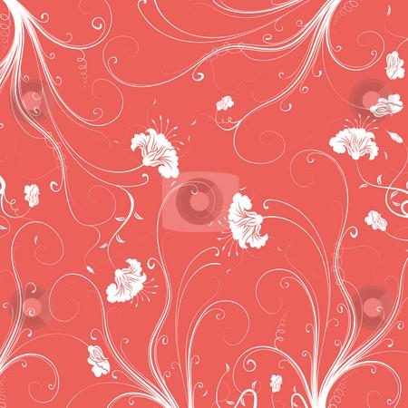 Seamless flower damask pattern stock photo, Illustration drawing of beautiful flower seamless pattern by Su Li