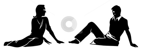 Man and female silhouette stock photo, Drawing of human silhouette in a white background by Su Li
