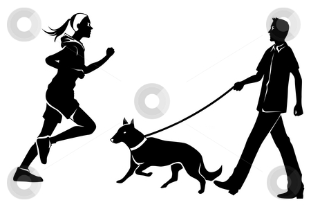 Female,man,dog stock photo, Drawing of black human silhouette in a white background by Su Li