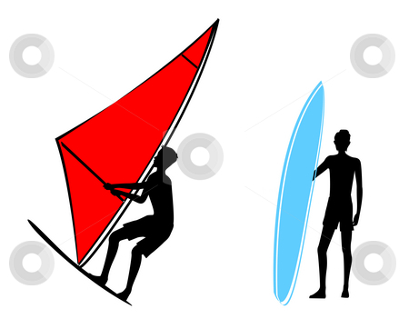Sailing stock photo, Drawing of sailing and man in a white background by Su Li