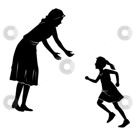Mother And Daughter Silhouette Stock Photo