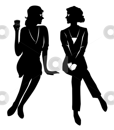 Female silhouette stock photo, Drawing of female silhouette in a white background by Su Li