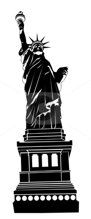 Statue of Liberty stock photo, Famous statue of the Statue of Liberty silhouette by Su Li
