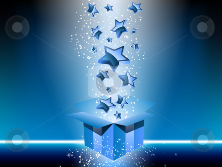 Blue gift box with stars. stock vector clipart, Blue gift box with stars. Editable Vector Image by Augusto Cabral Graphiste Rennes