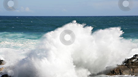 Huge Waves hitting a rock stock photo, Huge Waves hitting a rock, Storms River Mouth, South Africa by Juergen Schonnop