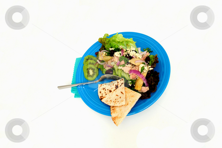 Tuna Salad stock photo, Tuna salad on a bed of Red Leaf Lettuce with Artichoke hearts, Kalamata olives, red onions and Feta Cheese, Kiwi slices and pita bread served on a turquoise colored plate by Lynn Bendickson