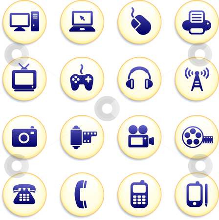 Technology Buttons stock vector clipart, Technology Buttons Original Vector Illustration Buttons Collection by L Belomlinsky