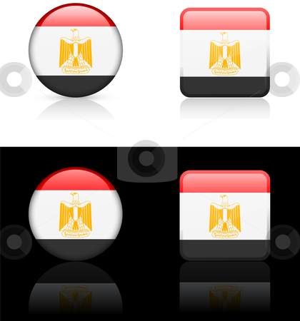Egypt Flag Buttons on White and Black Background stock vector clipart, Egypt Flag Buttons on White and Black Background Original Vector Illustration AI8 Compatible by L Belomlinsky