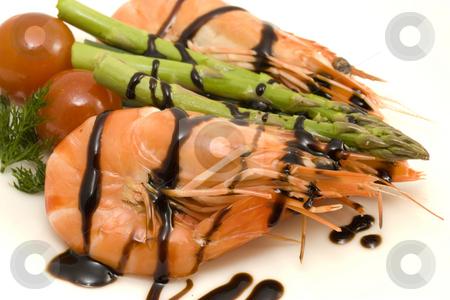 Shrimps and asparagus stock photo, Close up photo of shrimps with asparagus and balsamic vinegar by Sabino Parente
