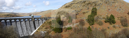 Craig Goch dam panorama, Elan Valley Wales UK. stock photo, Craig Goch dam panorama, Elan Valley Wales UK. by Stephen Rees