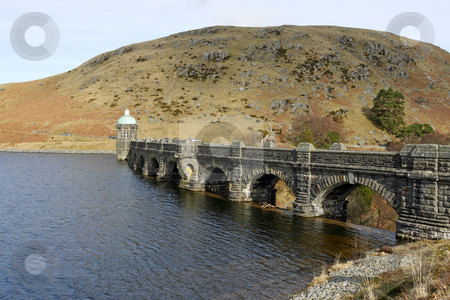 Craig Goch reservoir and dam arches, Elan Valley Wales UK. stock photo, Craig Goch reservoir and dam arches, Elan Valley Wales UK. by Stephen Rees
