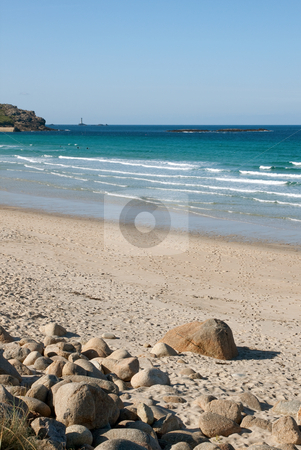Sennen Cove beach with Longships lighthouse on the horizon, Cornwall, UK stock photo, Sennen Cove beach with Longships lighthouse on the horizon, Cornwall, UK by Stephen Rees
