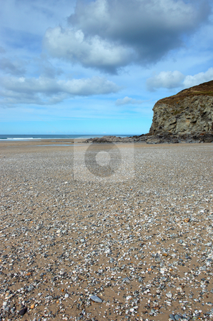 Porthtowan beach low spring tide, Cornwall UK. stock photo, Porthtowan beach low spring tide, Cornwall UK. by Stephen Rees