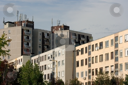 Flats stock photo, Huge blocks of flats in the suburbs by P?