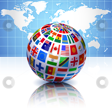 Flags globe with world map stock vector flags globe with world map gumiabroncs Image collections