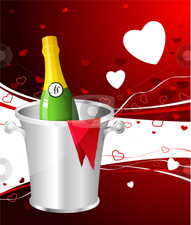 Champagne Valentine's Day design background stock vector clipart,  by L Belomlinsky