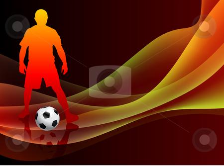 Print stock vector clipart, Soccer Player on Abstract Orange Background Original Vector Illustration by L Belomlinsky