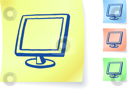 Computer monitor graphic on sticky note stock vector clipart, Computer monitor graphic on sticky note original vector illustration Post it note sketches  Three color version included by L Belomlinsky