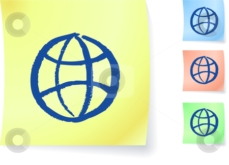 Globe graphic on sticky note stock vector clipart, Globe graphic on sticky note original vector illustration Post it note sketches  Three color version included by L Belomlinsky