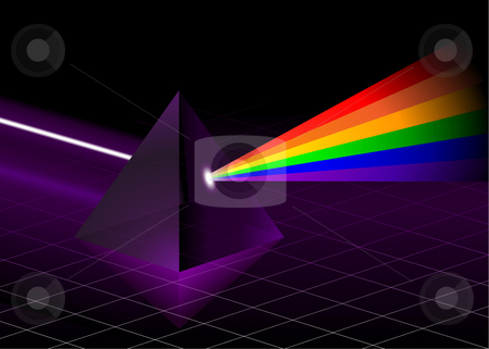 Pyramid with Rainbow stock vector clipart, Pyramid with Rainbow Original Vector Illustration Rainbow Background Ideal for Gay Concept by L Belomlinsky