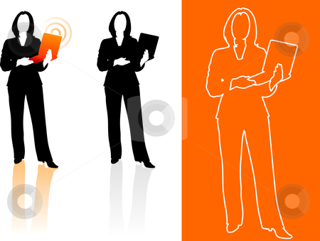 Young business woman silhouettes stock vector clipart, Original Vector Illustration: Young business woman silhouettes AI8 compatible by L Belomlinsky