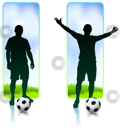 Soccer Player with Nature Banners stock vector clipart, Soccer Player with Nature Banners Original Vector Illustration by L Belomlinsky