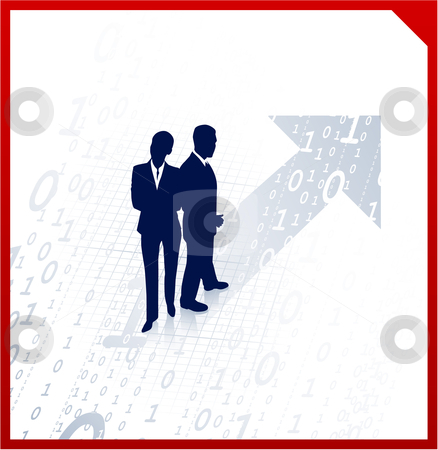 Business team silhouettes on binary background stock vector clipart, Original Vector Illustration: business team silhouettes on binary background AI8 compatible by L Belomlinsky