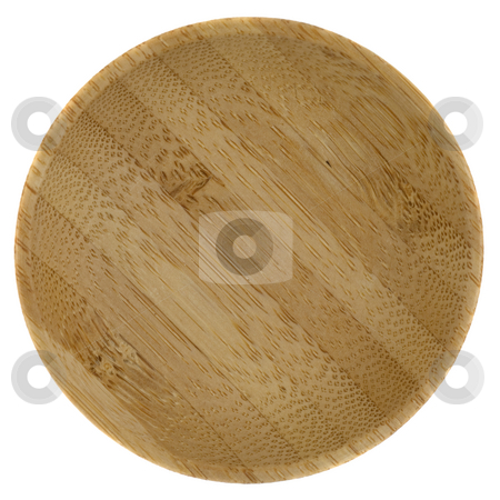 Round wooden bowl stock photo, Small round wooden bowl glued from pieces of exotic wood, isolated on white by Marek Uliasz