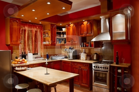 Kitchen stock photo, Modern, well equipped kitchen by P?