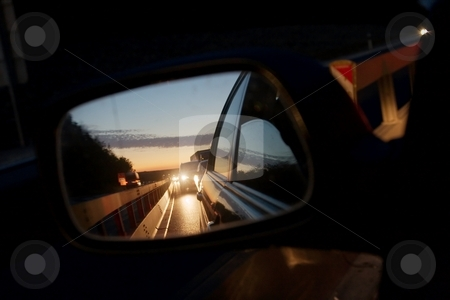 Traffic stock photo, Heavy traffic at night reflecting in the sideview mirror of a car by P?