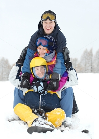 Winter fun stock photo, Group of young skiers having fun by P?