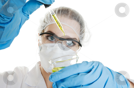 Medical Testing stock photo, Medical worker conducting a routine medical test. Shot on a white background by Steve Mcsweeny