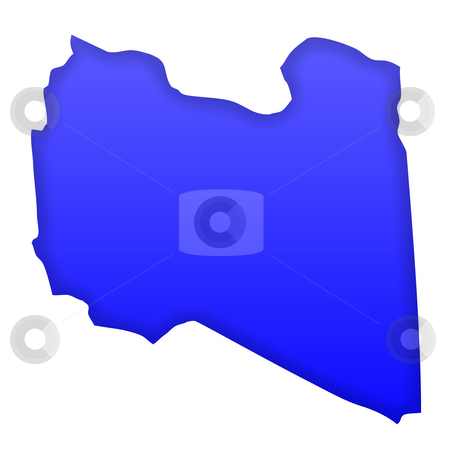 Libya map stock photo, LIbya map in blue isolated on white background with clipping path and copy space. by Martin Crowdy
