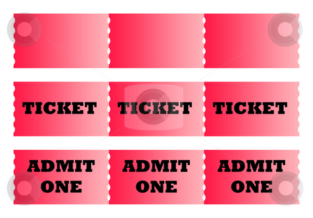 Rows of tickets stock photo, Rows of cinema or movie tickets isolated on white background with copy space. by Martin Crowdy
